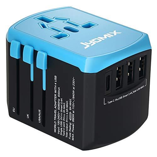 JYDMIX Adaptador de Corriente de Viaje USB Universal,3 Puertos USB Y de Tipo C Cargador de Pared Internacional Universal Enchufe AC Enchufe AC 8 Pines Multipaís (Blue)