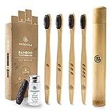 Cepillo de Dientes de Bambú de Greenzla (4 Paq.) con estuche de viaje y seda dental de carboncillo - Cepillos de dientes naturales y ecológicos para adultos sin BPA, de cerdas suaves y biodegradable
