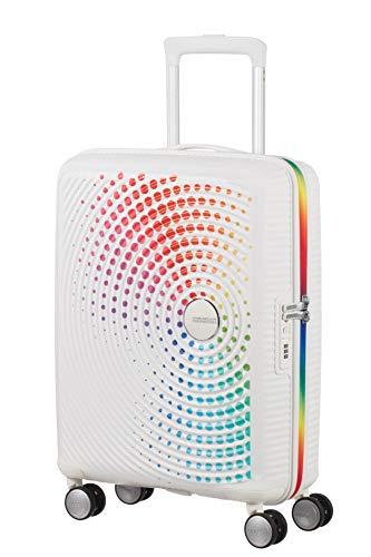 American Tourister Soundbox – Spinner Pride S (55 cm 32.5 L), Blanco (Rainbow Dots)
